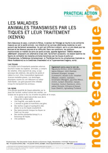 Les Maladies Animales Transmises par les Tiques et Leur Traitement (Kenya)