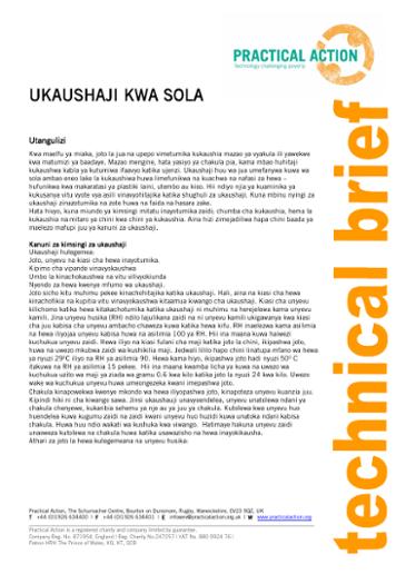 Ukaushaji Kwa Sola