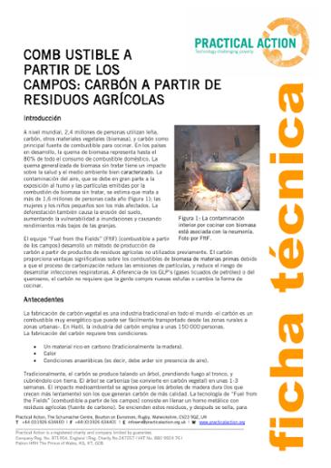 Combustible A Partir De Los Campos: Carbón A Partir De Residuos Agrícolas