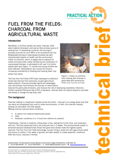 Fuel from the Fields: Charcoal from Agricultural Waste