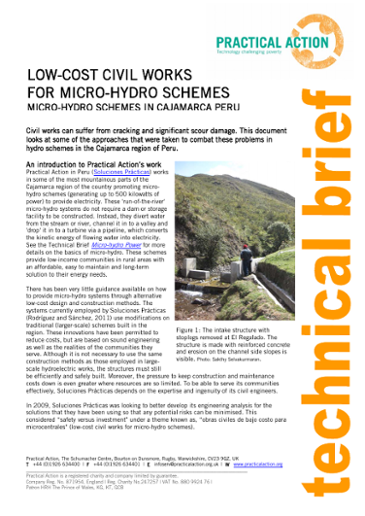 Low-Cost Civil works for Micro-Hydro Schemes
