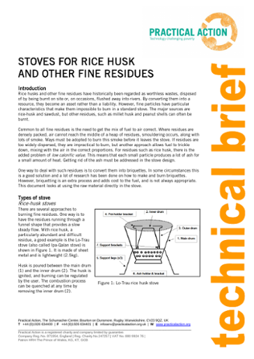 Stoves for Rice Husk and Other Fine Residues