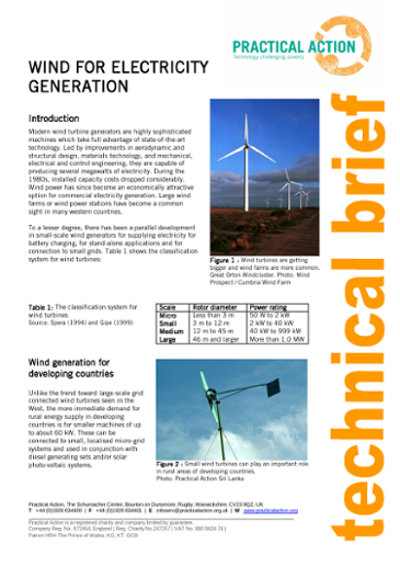 Wind for Electricity Generation