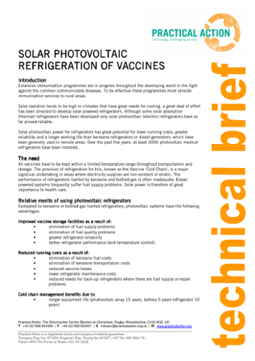 Solar Photovoltaic Refrigeration of Vaccines