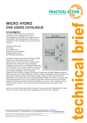 Micro-Hydro End Users Catalogue