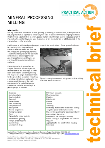 Mineral Processing: Milling