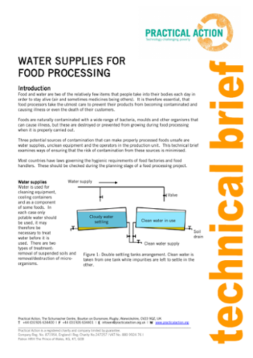 Water Supplies for Food Processing