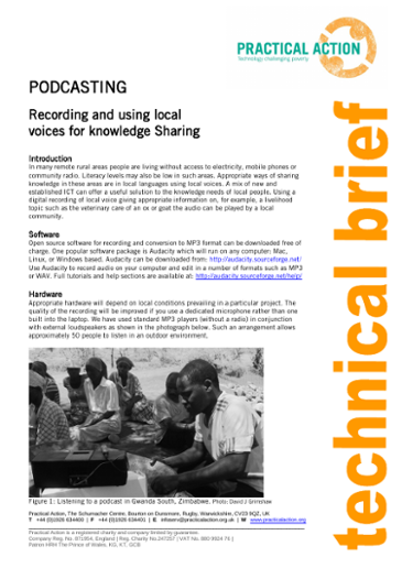 Podcasting: Recording and Using Local Voices for Knowledge Sharing