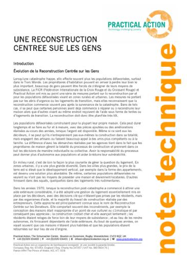 Une Reconstruction Centrée sur les Gens
