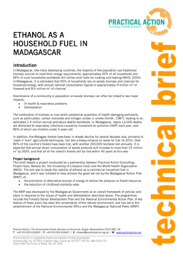 Ethanol as a Household Fuel in Madagascar