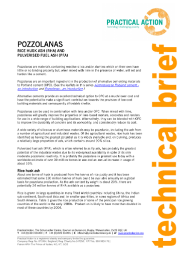 Pozzolanas - Rice Husk Ash and Pulverised Fuel Ash
