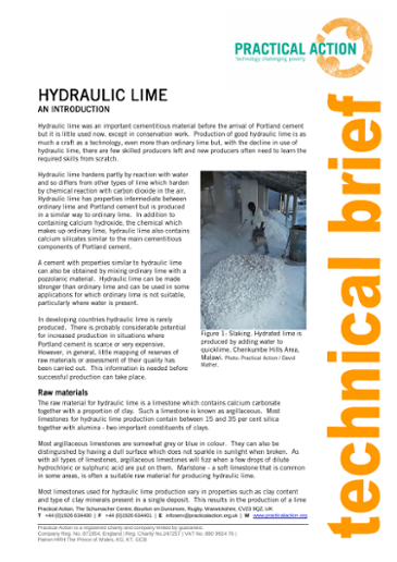 Hydraulic Lime: An Introduction