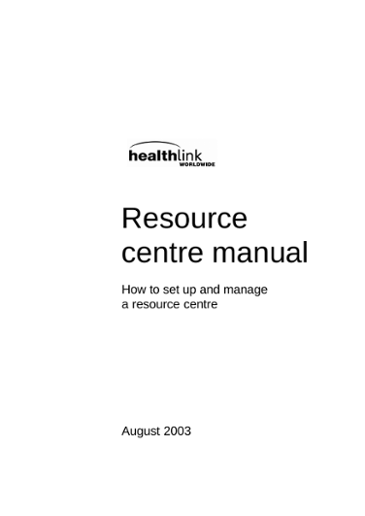 How to Set up and Manage a Resource Centre