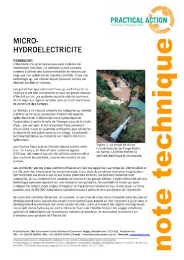 Micro-Hydroélectricité