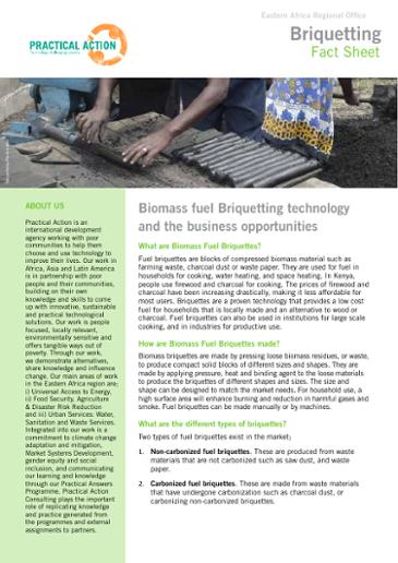 Fuel briquettes technology fact sheet