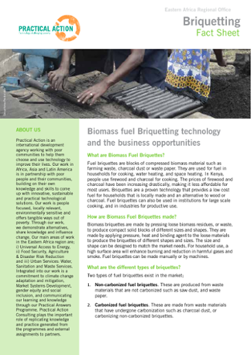 Fuel briquettes technology fact sheet