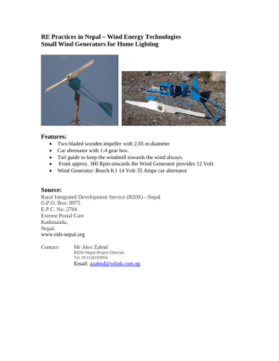 Wind Energy Technologies in Nepal