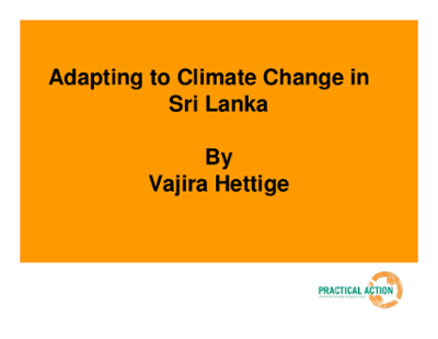 Adapting to Climate Change in Sri Lanka