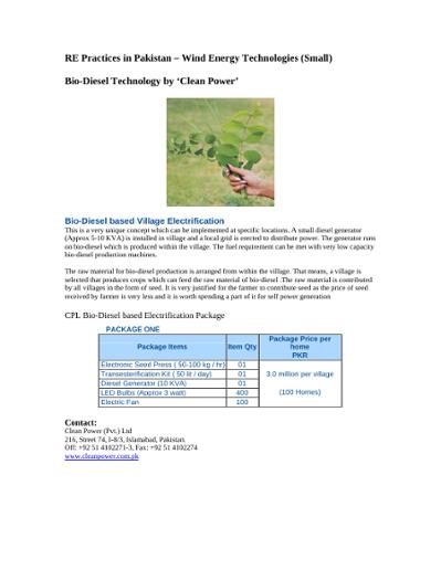 Bio-Diesel Technology in Pakistan