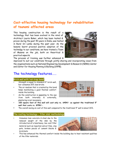 Cost-Effective Housing Technology for Rehabilitation of Tsunami Affected Areas