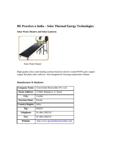 Solar Thermal Technologies in India