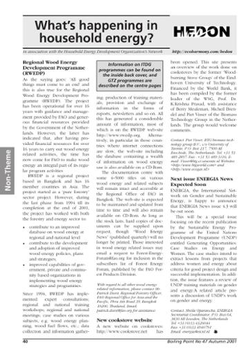 Boiling Point 47: Regional Wood Energy Development Programme