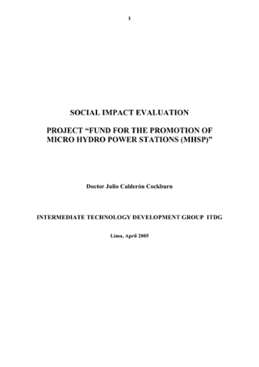 Social Impact Evaluation Project 'Fund for the Promotion of Micro-Hydro Power Stations (MHSP)'