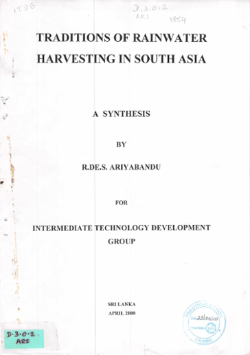 Traditions of rainwater harvesting in South Asia