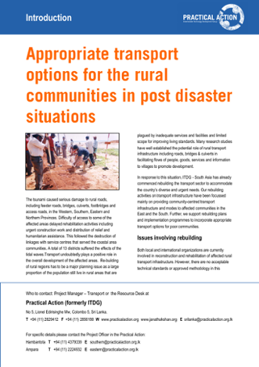 Appropriate transport options for the rural communities in post disaster situations: introduction
