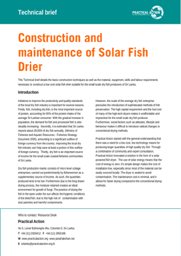 Construction and maintenance of solar fish drier : technical brief