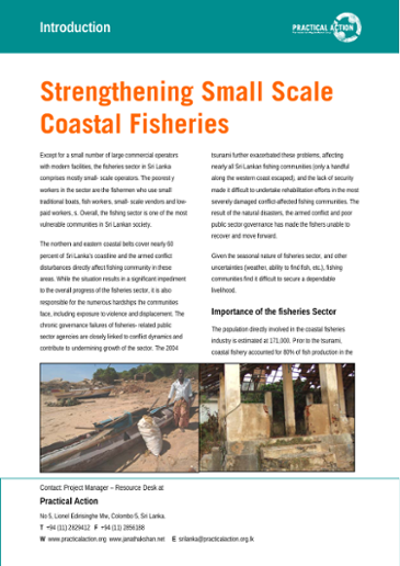 Strengthening small scale coastal fisheries: introduction