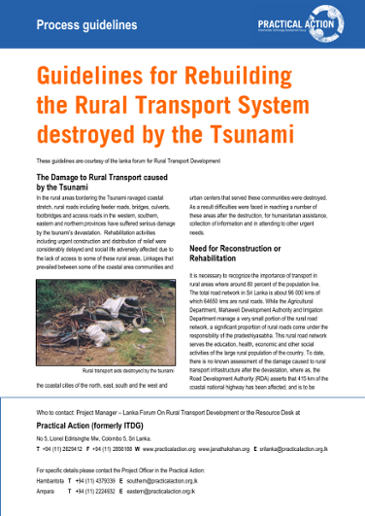 Guidelines for rebuilding the rural transport system destroyed by the t-sunami: process guidelines