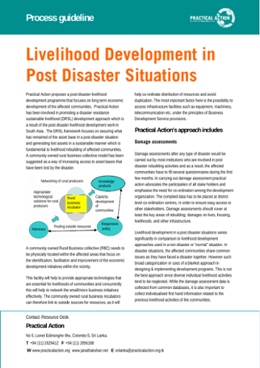 Livelihood development in post disaster situations: process guidelines