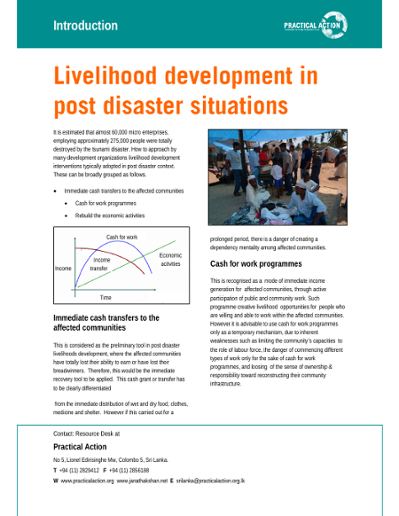 Livelihood development in post disaster situations: introduction