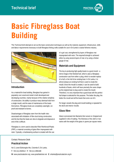 Basic fibreglass boat building: technical brief