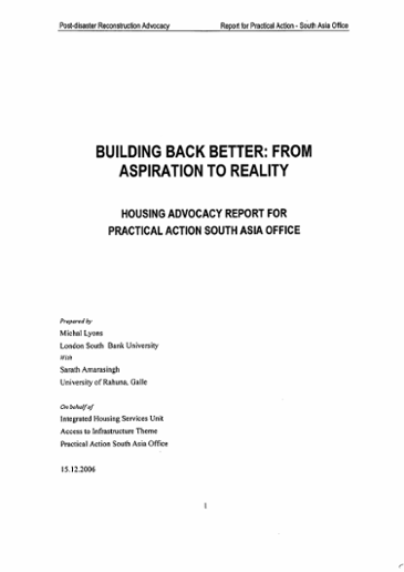 Building back better: from aspiration to reality; housing advocacy report for Practical Action South Asia Office