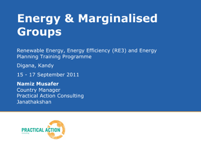 Energy & marginalised groups