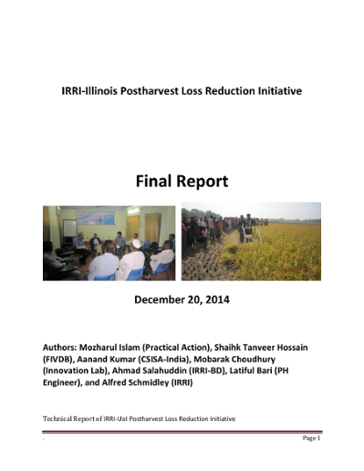 Final Report on IRRI-Illinois Postharvest Loss Reduction Initiative