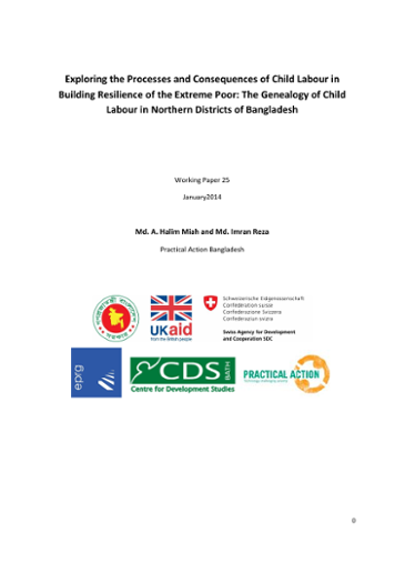 Exploring the Processes and Consequences of Child Labour in Building Resilience of the Extreme Poor