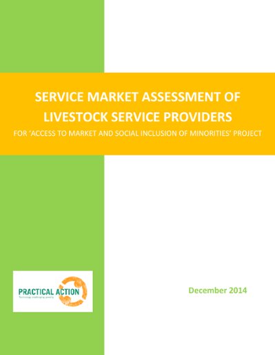 Service market assessment of livestock service providers