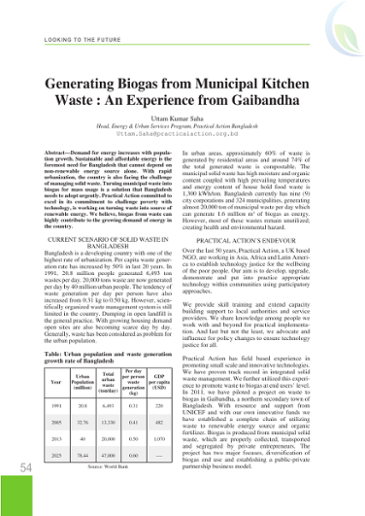 Generating biogas from municipal kitchen waste: An experience from Gaibandha