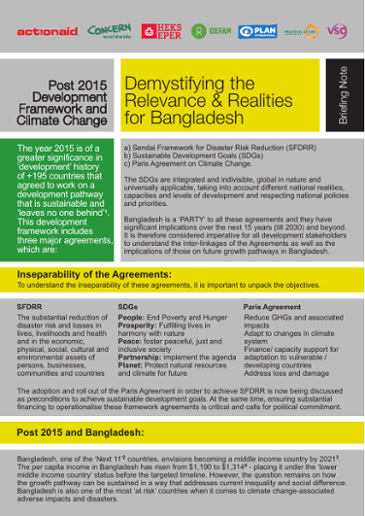 Post 2015 Development Framework and Climate Change: Demystifying the Relevance & Realities for Bangladesh